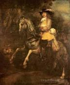 Portrait of Frederick Rihel, by Rembrandt: there's a portrait of a man undeneath this, if you turn the painting 90 degrees to the right.