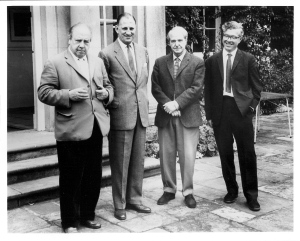 four excellent Yorkshiremen: l-r J B Priestley (fiction), Len HUtton (cricket), Henry Moore (art), Fred Hoyle (physics). Photo by Jacquetta Hawkes (archaeologist), borrowed from the University of Bradford Special Collections