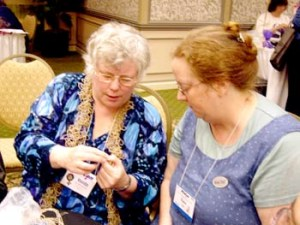 Vonda McIntyre (L) in deep discussion with an enquirer