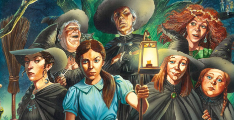 a perfect portrait of the witches of Discworld, by I don't know who, from the Hypable site so it's probably not fan art but from the Pratchett empire.