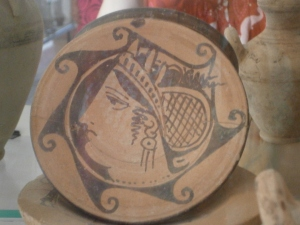 a Greek red-figureware plate in the museum at Aléria, Corsica