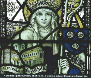 Victorian stained glass portrait of the 7th-century abbess and politician Hilda of Whitby