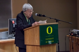 Ursula LeGuin reading her letter to Sheldon after the Outing (University of Oregon Libraries)