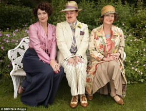 Anna Chancellor (L) and Steve Pemberton (middle) as Lucia and Georgie from the BBC's 2015 adaptation. (Those costumes are too 1930s)