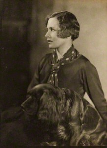 Hilda Matheson by Howard Coster, bromide print, 1920s, National Portrait Gallery. Love the glossiness of the dog, and her beautiful shirt and scarf.