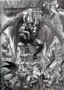 Satan in Pandemonium, the court of devils